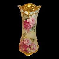 Antique Limoges Vase Hand Painted Pink Tea Roses