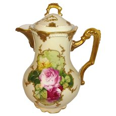Antique AK Limoges Chocolate Pot Hand Painted Reflecting Roses Artist Signed
