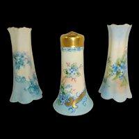 3 Vintage Porcelain Hat Pin Holders Hand Painted Blue Forget Me Nots