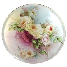 """15"""" Antique Limoges  Charger Tray Hand Painted Multicolored Roses"""