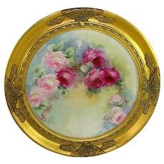 Antique Limoges Framed Charger Hand Painted Tea Roses