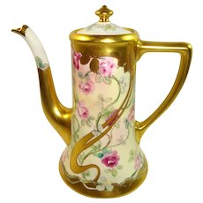 Guerin Limoges Coffee Pot Hand Painted Roses Pickard Artist Signed