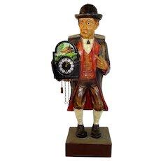 Wood Clock Peddler Whistler Griesbaum Automaton Music Box