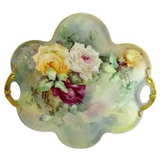 MAGNIFICENT Large Haviland Limoges Tray Hand Painted Multicolored Tea Roses