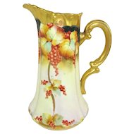 Magnificent Antique Pickard Pitcher Hand Painted Currants Signed by Frederick Walters