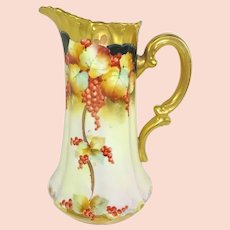 Antique Pickard Tankard Pitcher Hand Painted Currants Artist Signed Walters
