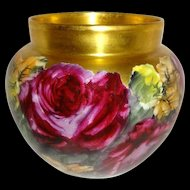 Magnificent Jardiniere Vase Hand Painted Roses Famous Artist Signed
