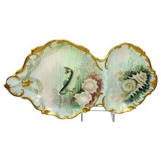 Antique French Fish Sardine Tray Dish Hand Painted Sea Life