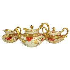 Antique Limoges Tea Set Hand Painted Cherries Signed by Pickard Artist