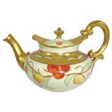Antique French Limoges Tea Pot Hand Painted Cherries