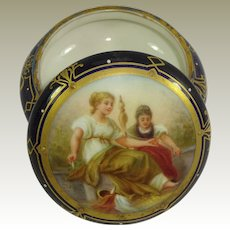 Blue Beehive Artist Signed Trinket Jar with Hand Painted Figural Portrait