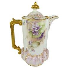 Antique Austrian Chocolate Pot Hand Painted Purple Violets