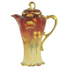 JPL LImoges Chocolate Pot Hand Painted Poppies