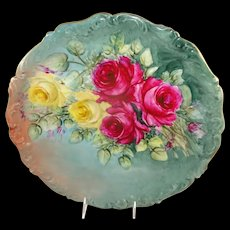 "Antique Limoges 13 1/2"" Charger Hand Painted Roses Signed"