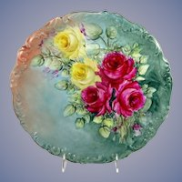 Antique Limoges Charger Hand Painted Roses Artist Signed