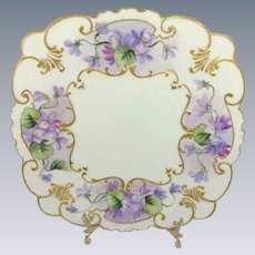 French Limoges Plate Tray Hand Painted Purple Amethyst African Violets