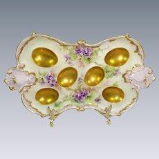 Antique Limoges Artist Signed Hand Painted Violets Egg Tray