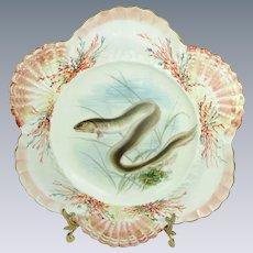 English Antique Burslem Hand Painted Porcelain Fish Plate Artist Signed