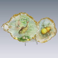 French Limoges Fish Sardine Divided Tray Hand Painted Artist Signed
