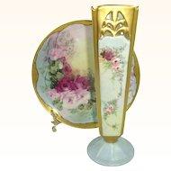 Vintage RS Germany Vase with Signed Haviland Limoges Plate