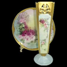 Vintage RS Germany Vase with Signed Haviland Limoges Plate