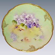 Antique Limoges Pickard Plate Hand Painted Violets Signed Nessie