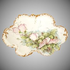 Antique French Limoges Tray Hand Painted Pink Roses Artist Signed
