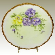 Antique Limoges France Plate Hand Painted Pansies