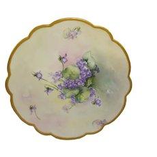 Antique Limoges France Plate Hand Painted Violets