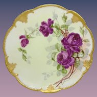 Antique French Limoges Plate Hand Painted Tea Roses Artist Signed