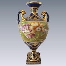 Vintage Nippon Japan Cobalt and Gold Bolted Vase