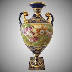 Vintage Nippon Japan Cobalt and Gold Bolted Vase