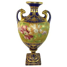 Nippon Cobalt Floral and Gilded Bolted Vase