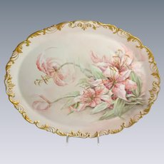 Large French Limoges Antique Tray with Hand Painted Day Lilies Signed