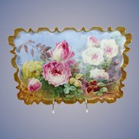 Antique Limoges Tray Hand Painted Roses Signed Duval