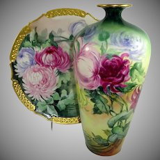 Limoges Vase Charger Hand Painted Chrysanthemum Signed