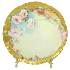 Haviland Limoges France Hand Painted Plate with Pink Tea Roses