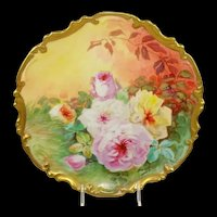 """13"""" Limoges France Plaque Charger Hand Painted Roses Signed Duval"""