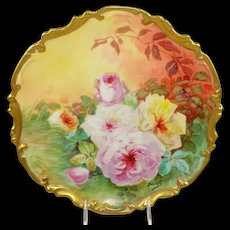 "13"" Limoges France Plaque Charger Hand Painted Roses Signed Duval"