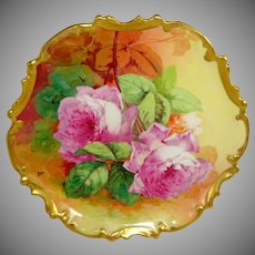 Limoges France Plaque Hand Painted Pink Roses Artist Signed