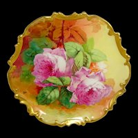 Limoges Charger Hand Painted Pink Roses Artist Signed