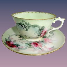 Antique German KPM Cup Saucer Hand Painted Roses
