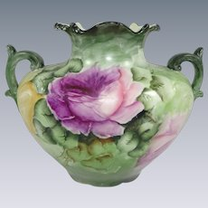 Antique French Limoges Vase Hand Painted Roses Signed Dated 1908