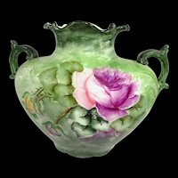 Antique JPL Pillow Vase Hand Painted Roses Signed Dated 1908