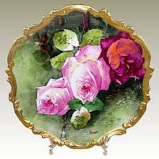 Limoges Plaque Hand Painted Roses Studio Artist Signed