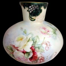 Large Bulbous Austrian Vase Hand Painted Roses Artist Signed