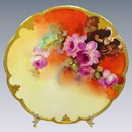 Antique Pickard Plate Hand Painted Pink Roses Signed Jelinek