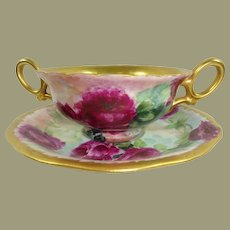 Antique Limoges Bouillon Cup Saucer Hand Painted Roses Artist Signed