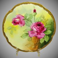 Antique Julius A. Brauer Plate Hand Painted Pink Tea Roses Artist Signed