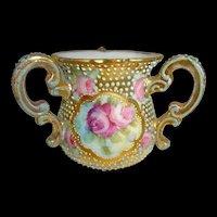 Nippon Japan Gold Loving Cup Moriage Pink Roses